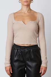 NIA Notched Ribbed Tee - Front cropped