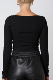 NIA Notched Ribbed Tee - Front full body