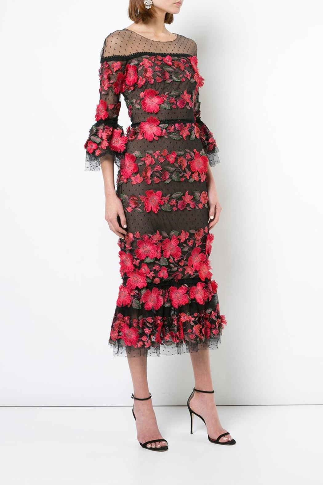 Marchesa 3/4 Sleeve Dress - Front Full Image