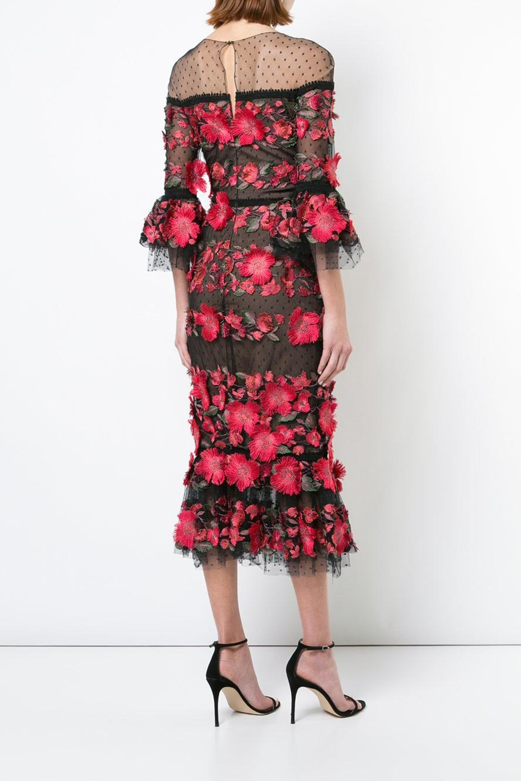 Marchesa 3/4 Sleeve Dress - Side Cropped Image