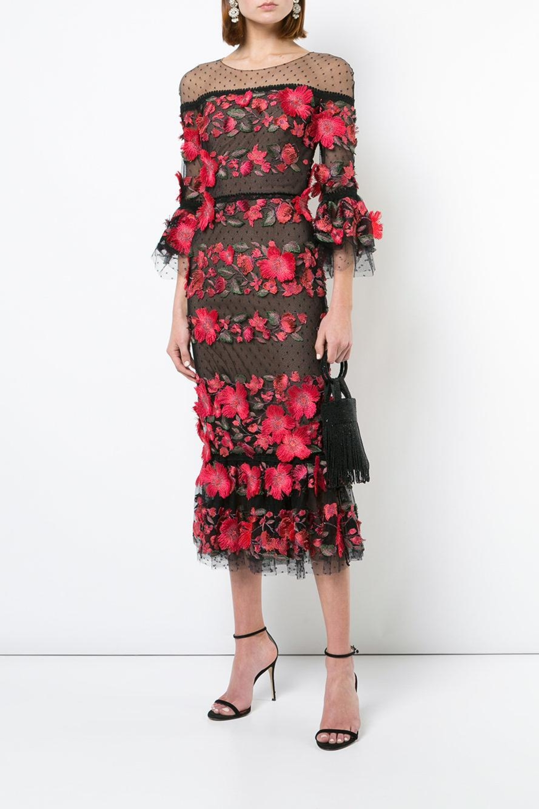 Marchesa 3/4 Sleeve Dress - Main Image