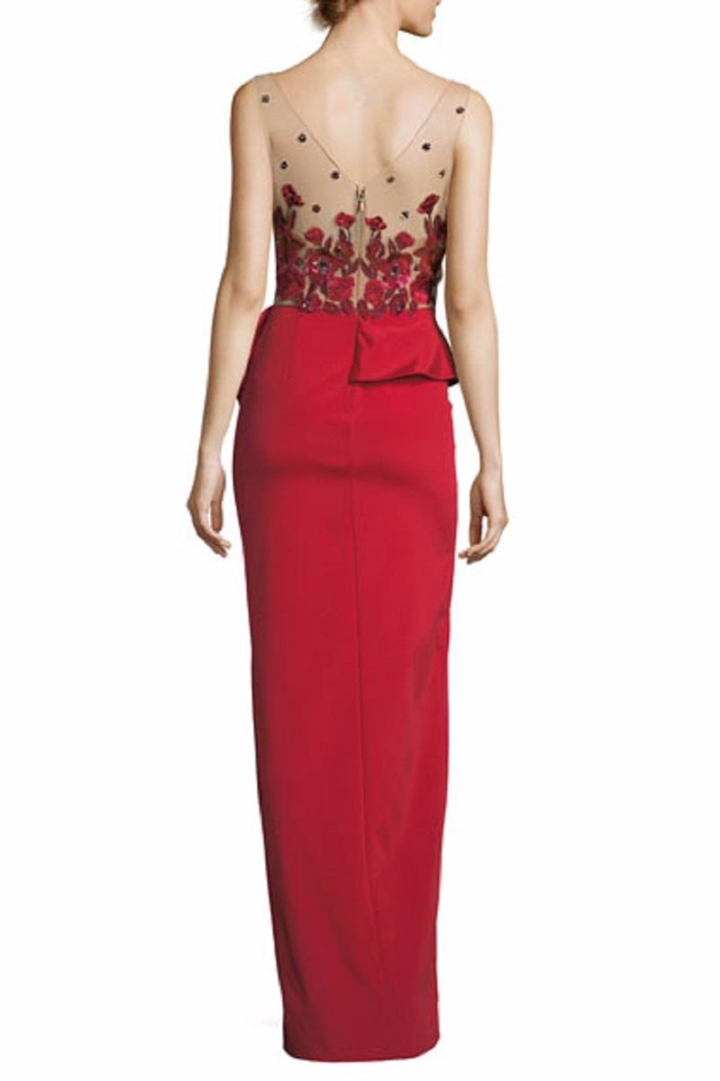 Notte by Marchesa Beaded Column Gown - Front Full Image