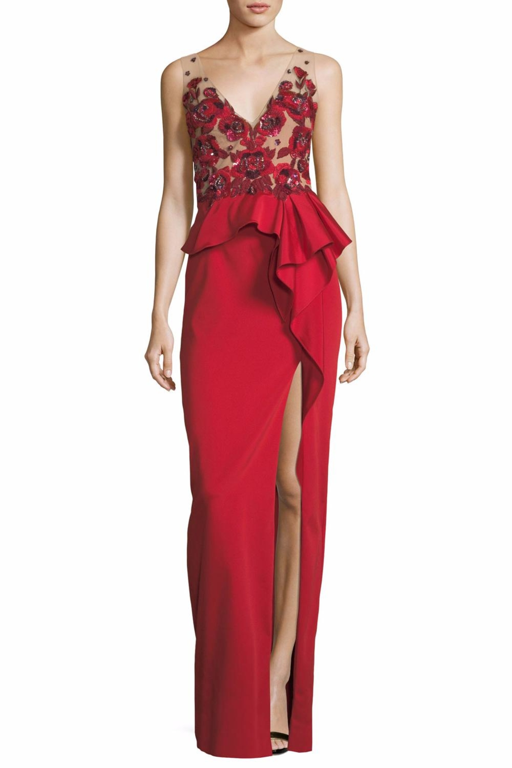 Notte by Marchesa Beaded Column Gown - Main Image