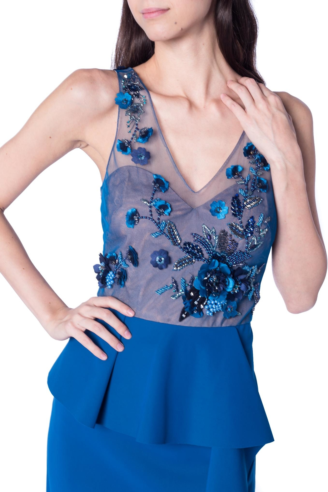 Marchesa Blue Flower Gown - Front Full Image