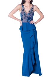 Marchesa Blue Flower Gown - Front cropped