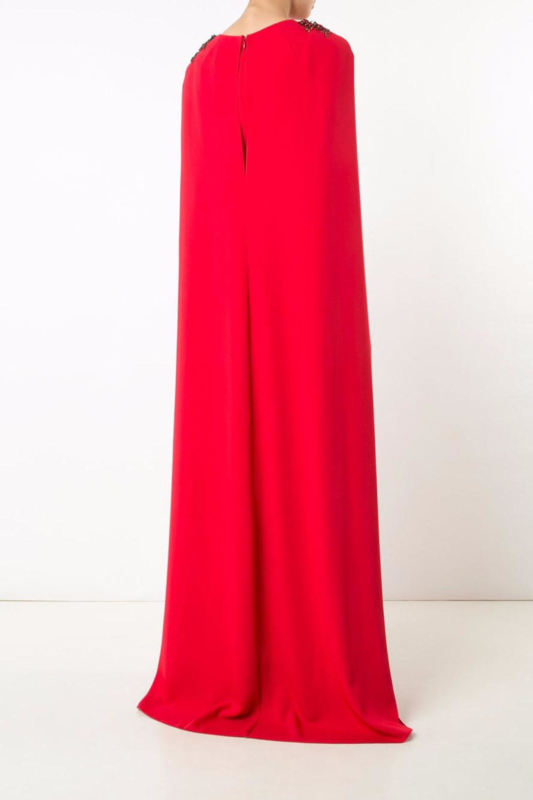 Notte by Marchesa Crepe Cape Gown - Side Cropped Image