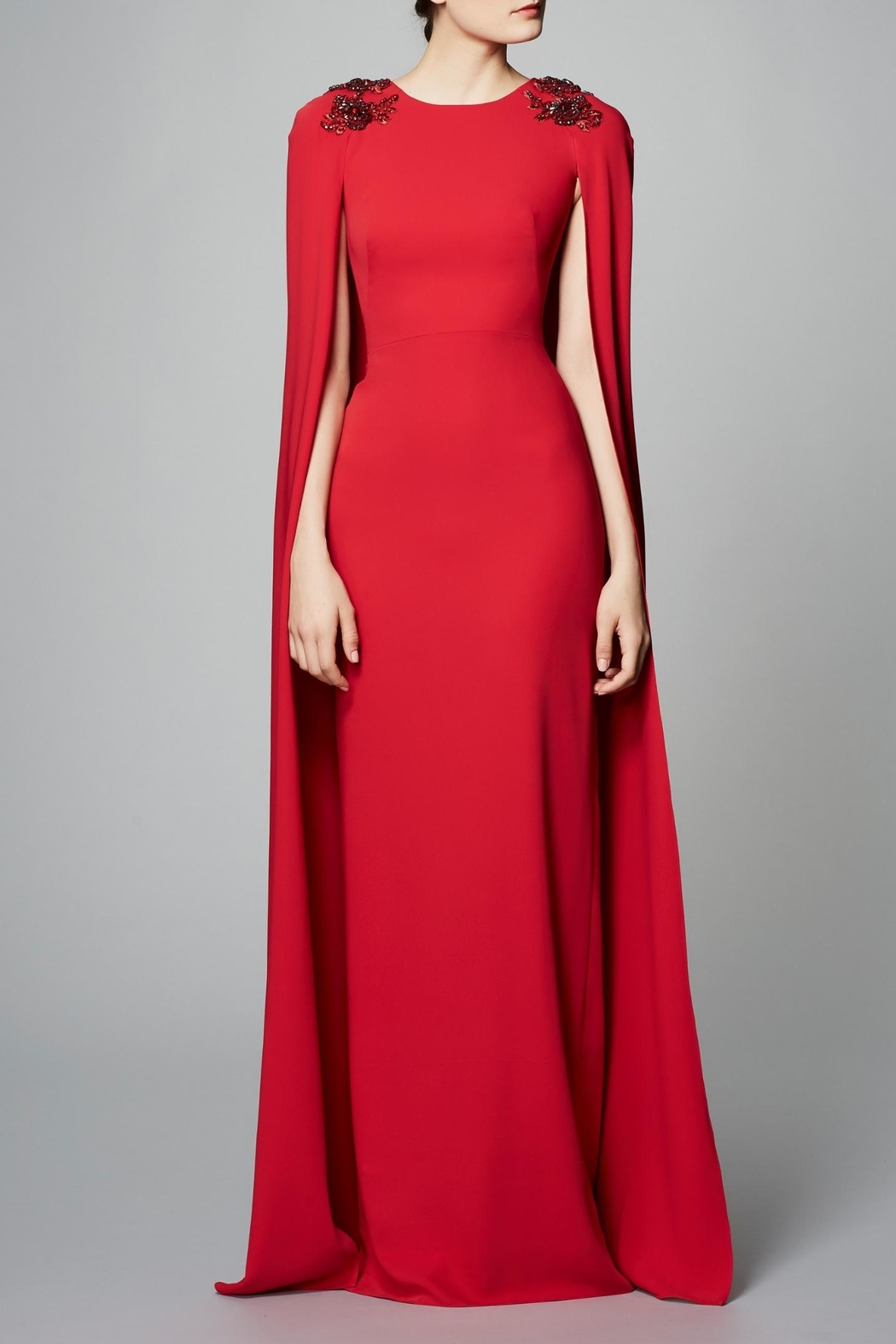 Notte by Marchesa Crepe Cape Gown - Main Image