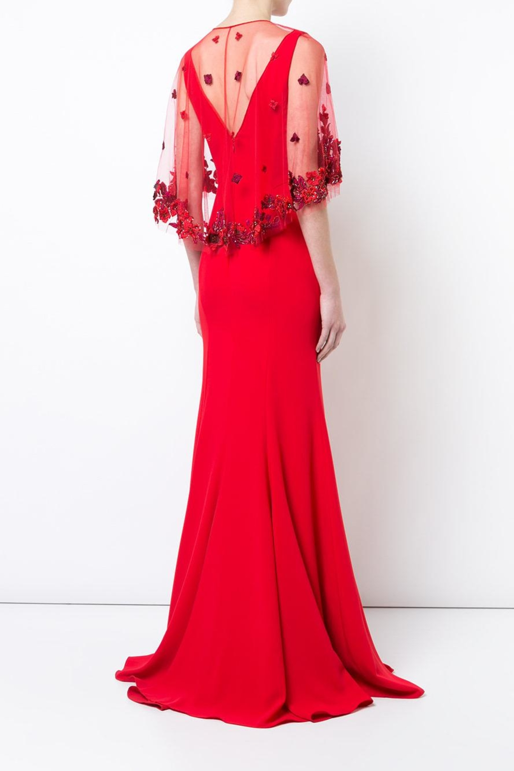 Marchesa Crepe Evening Gown - Side Cropped Image