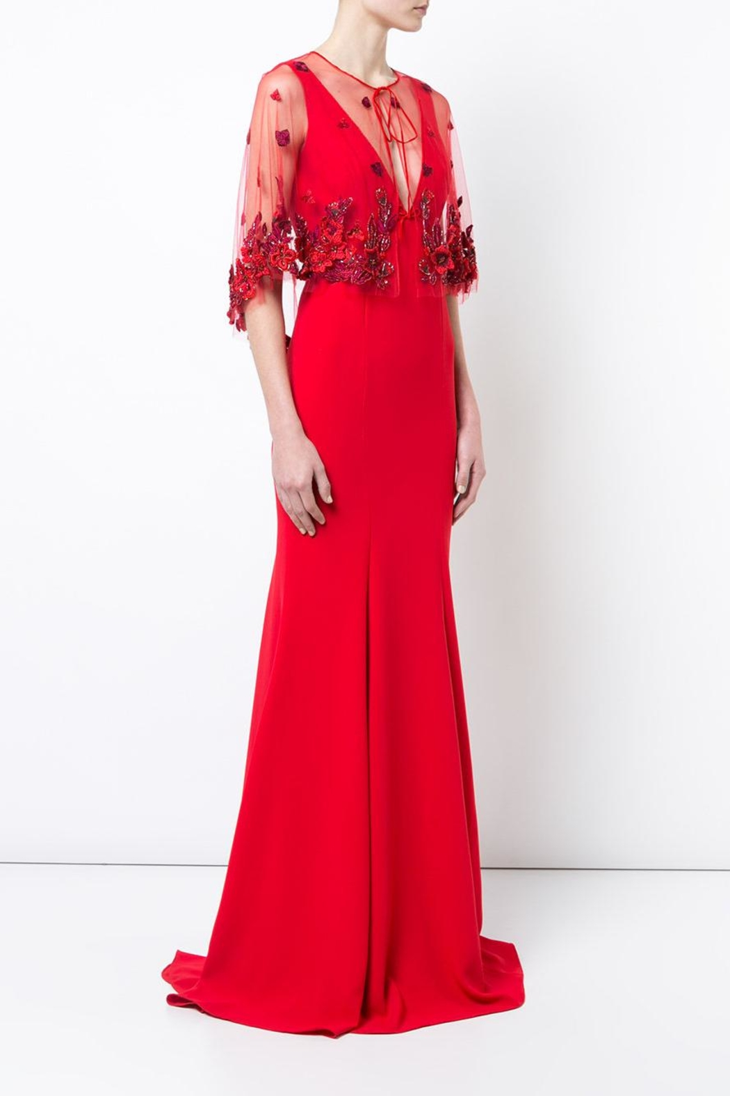 Marchesa Crepe Evening Gown - Front Full Image