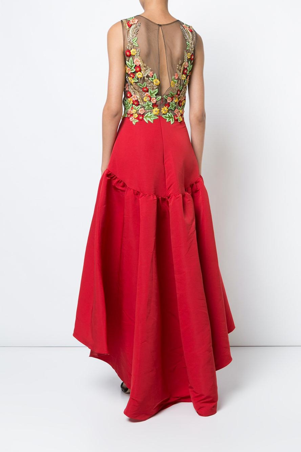 Marchesa High-Low Floral Dress - Front Full Image