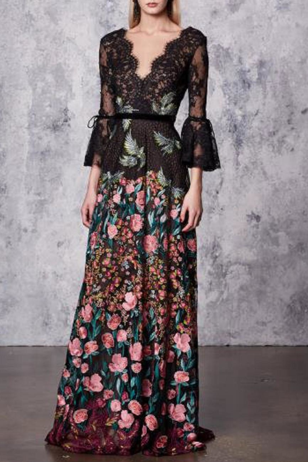 Notte by Marchesa Floral Evening Gown - Front Cropped Image