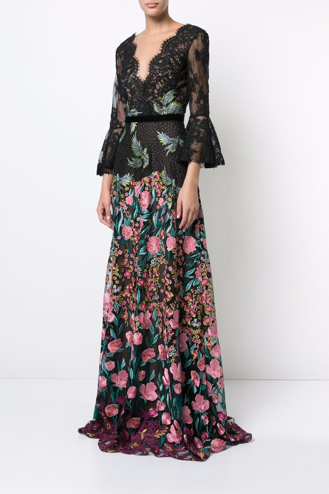 Notte by Marchesa Floral Evening Gown - Front Full Image