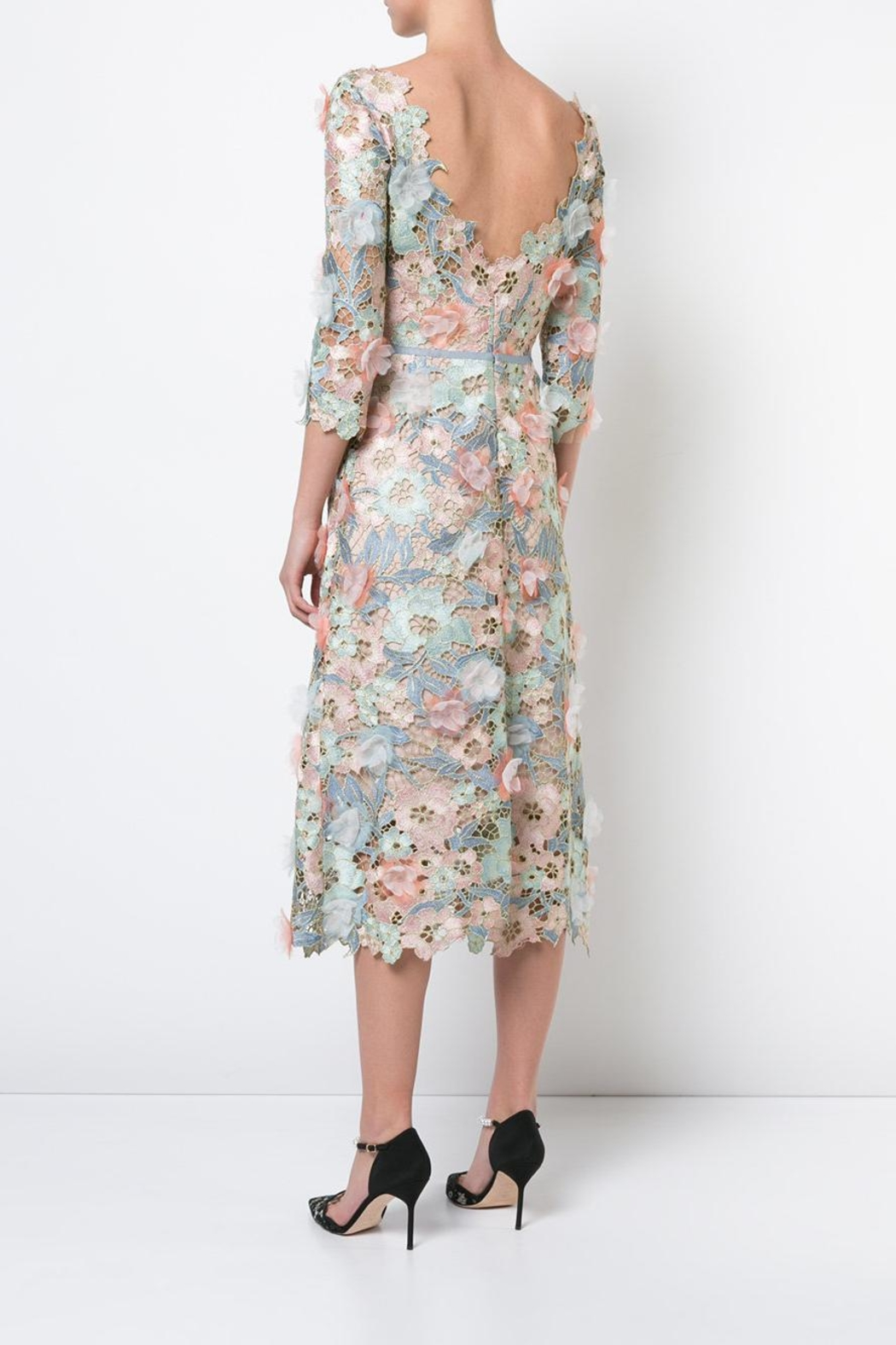 Marchesa Floral Lace Dress - Front Full Image