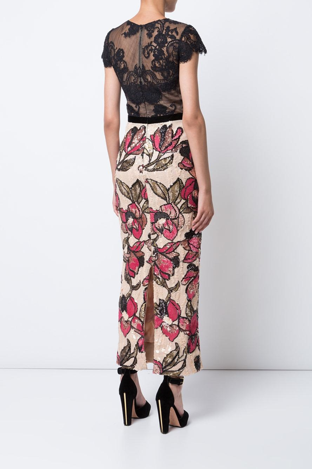 Marchesa Floral Sequin Dress - Front Full Image