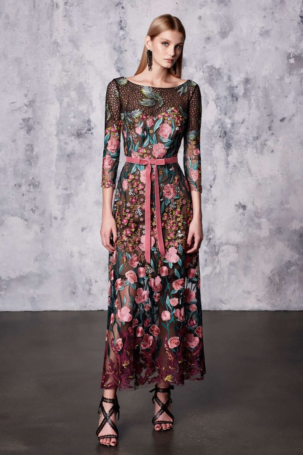 Notte by Marchesa Floral Tea Dress - Front Full Image