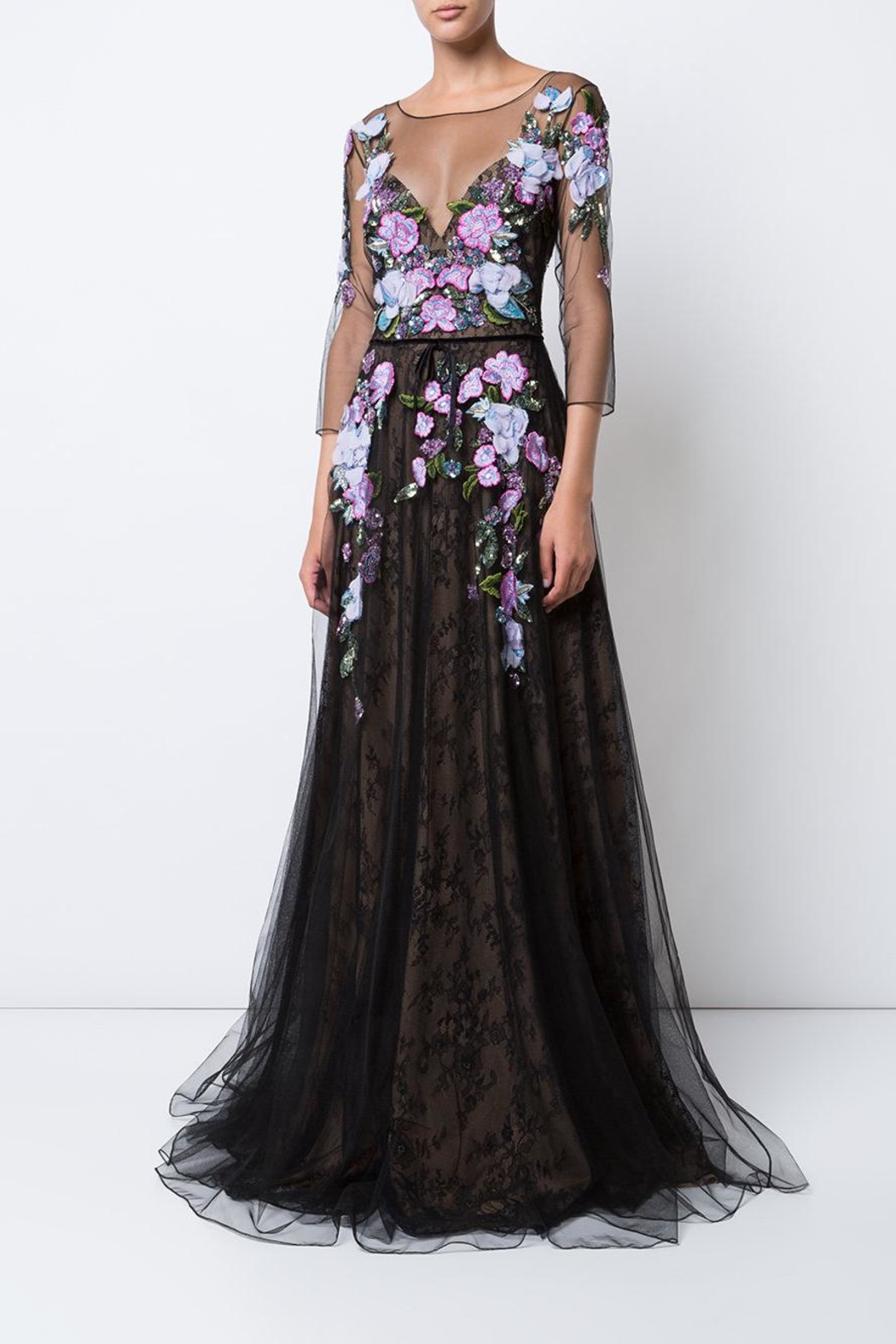 Marchesa Floral Tulle Gown - Main Image