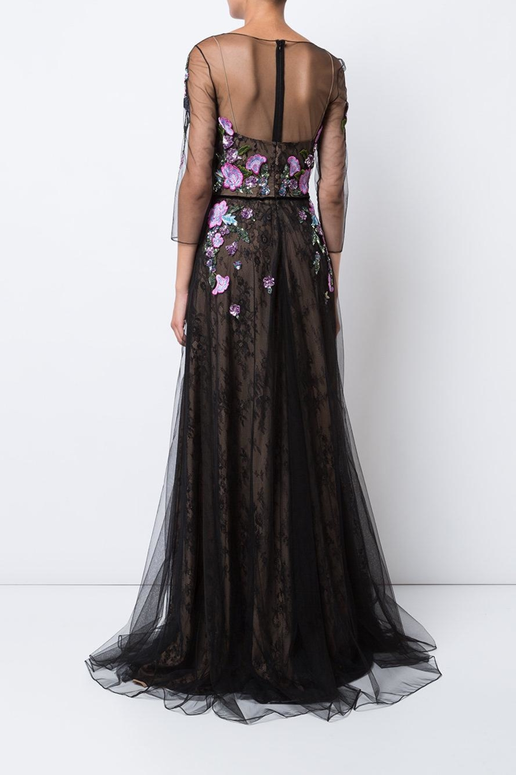 Marchesa Floral Tulle Gown - Front Full Image