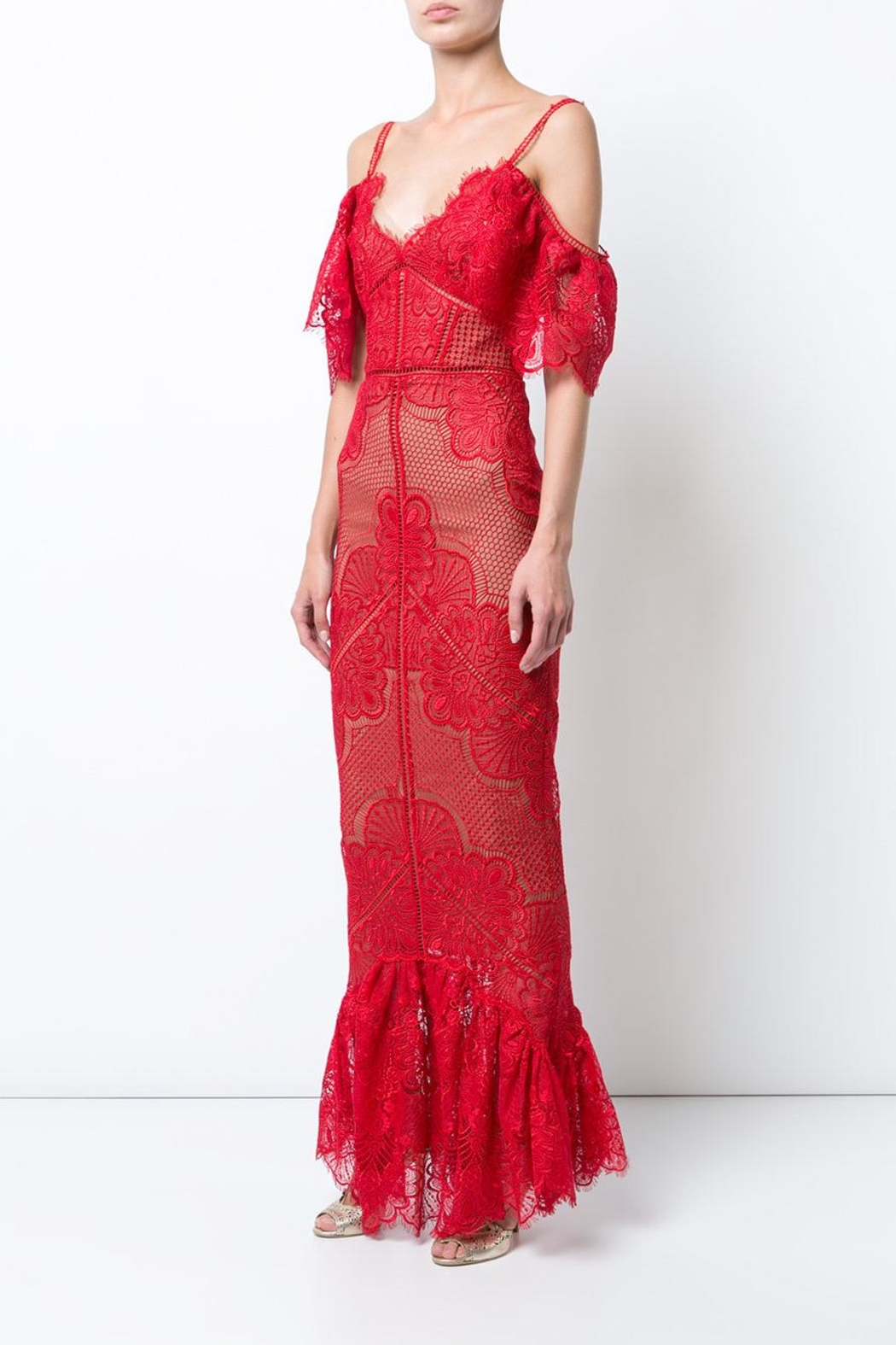 Marchesa Guipure Evening Gown - Main Image