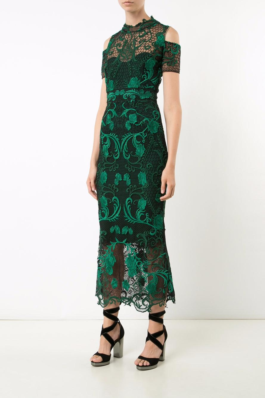 Notte by Marchesa Lace Tea Dress - Front Cropped Image