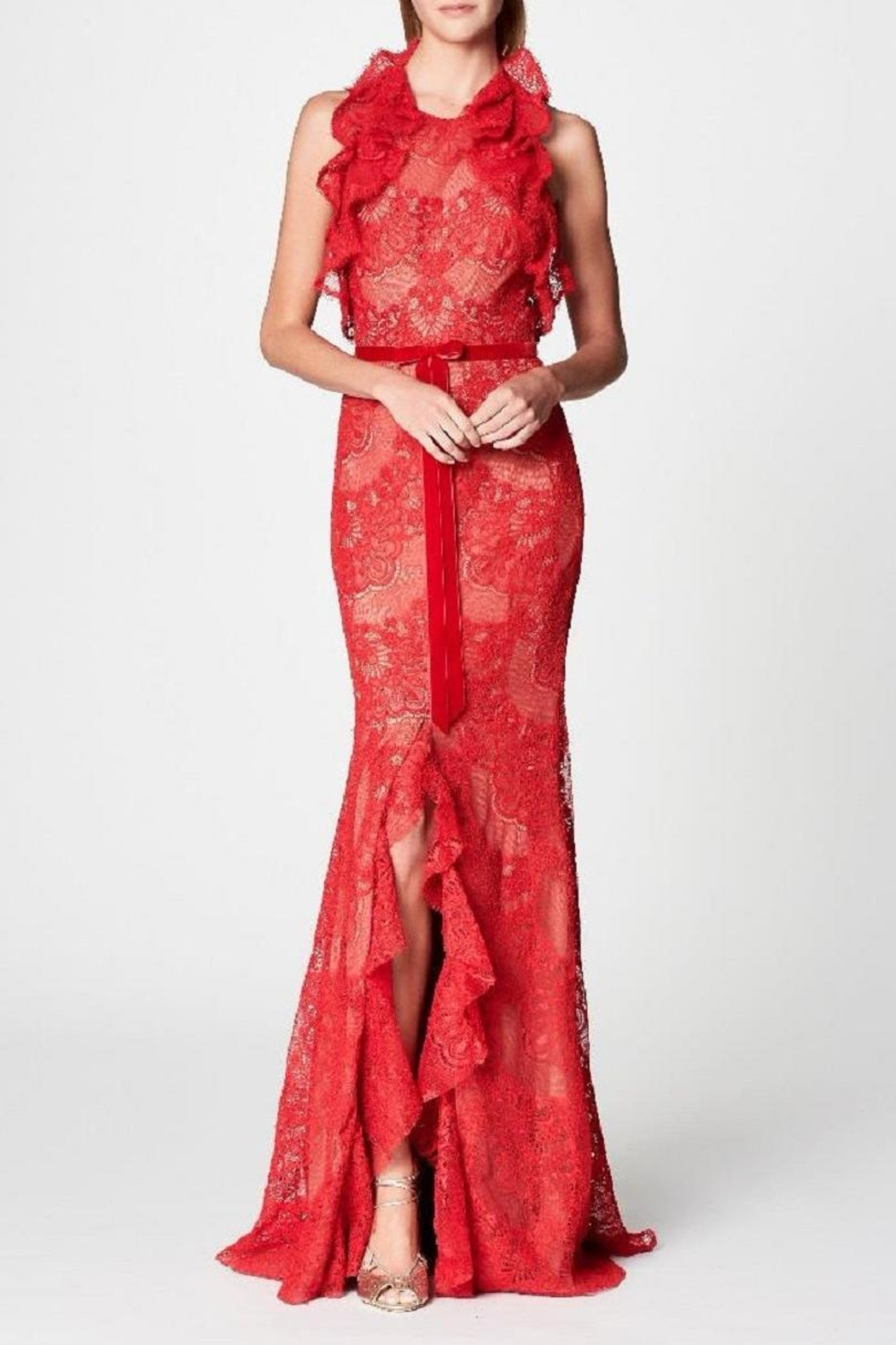 Notte by Marchesa Ruffle Lace Gown - Main Image