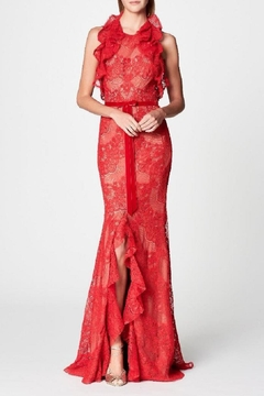 Notte by Marchesa Ruffle Lace Gown - Alternate List Image