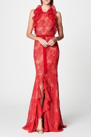 Marchesa Ruffle Lace Gown - Product Mini Image