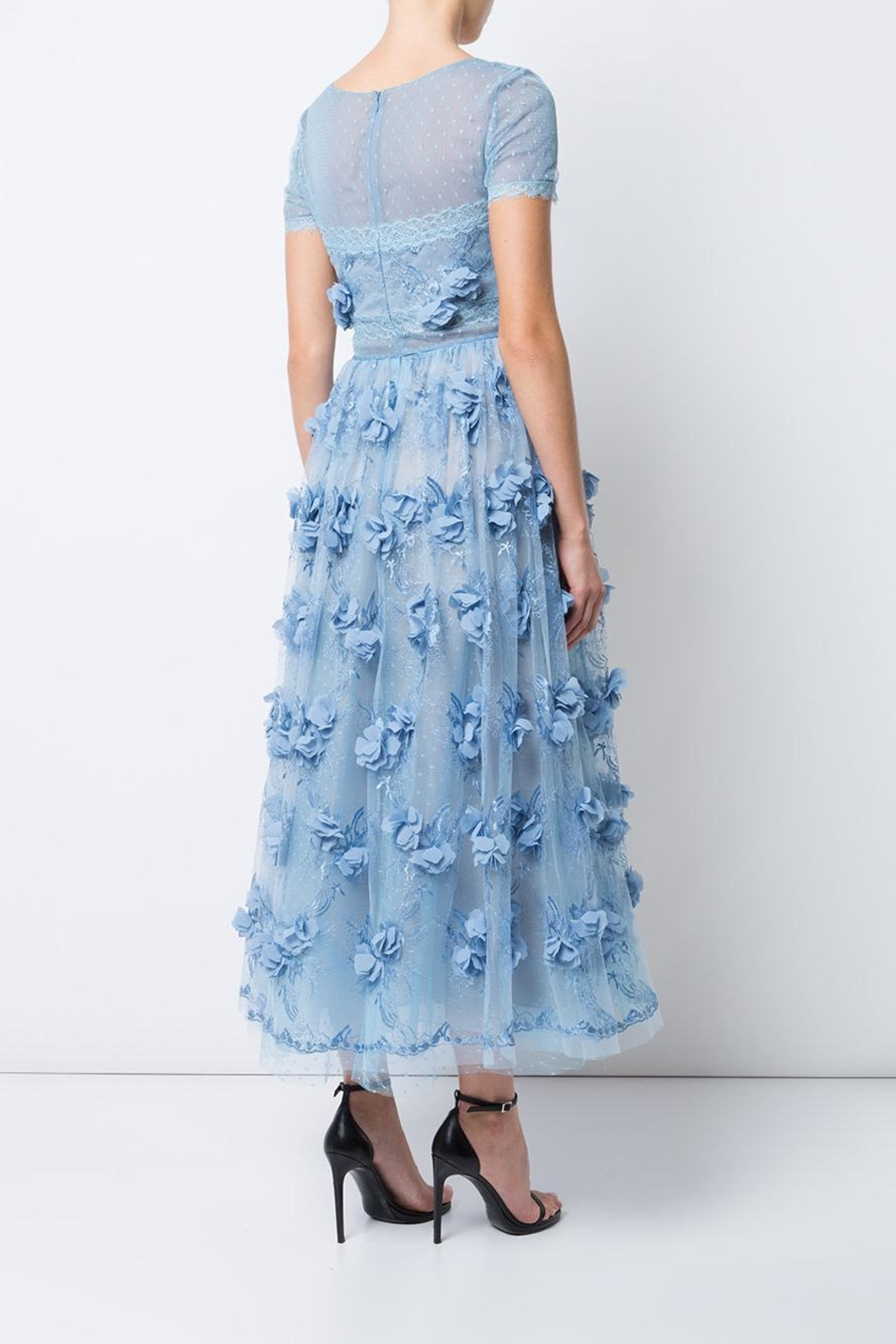 Notte by Marchesa Sheer Floral Dress - Front Full Image