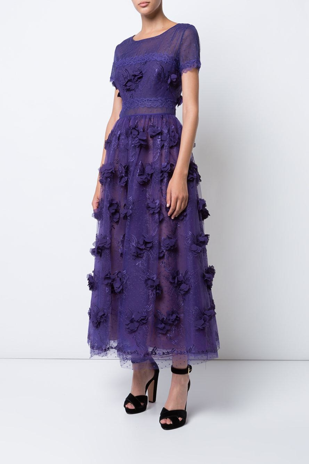 Notte by Marchesa Sheer Floral Dress - Main Image