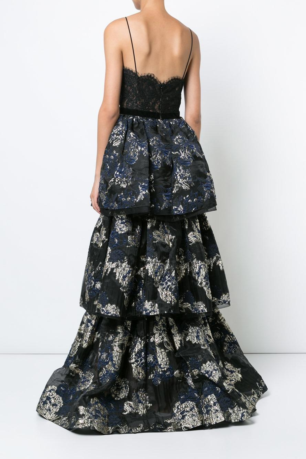 Notte by Marchesa Sleeveless Brocade Gown - Front Full Image