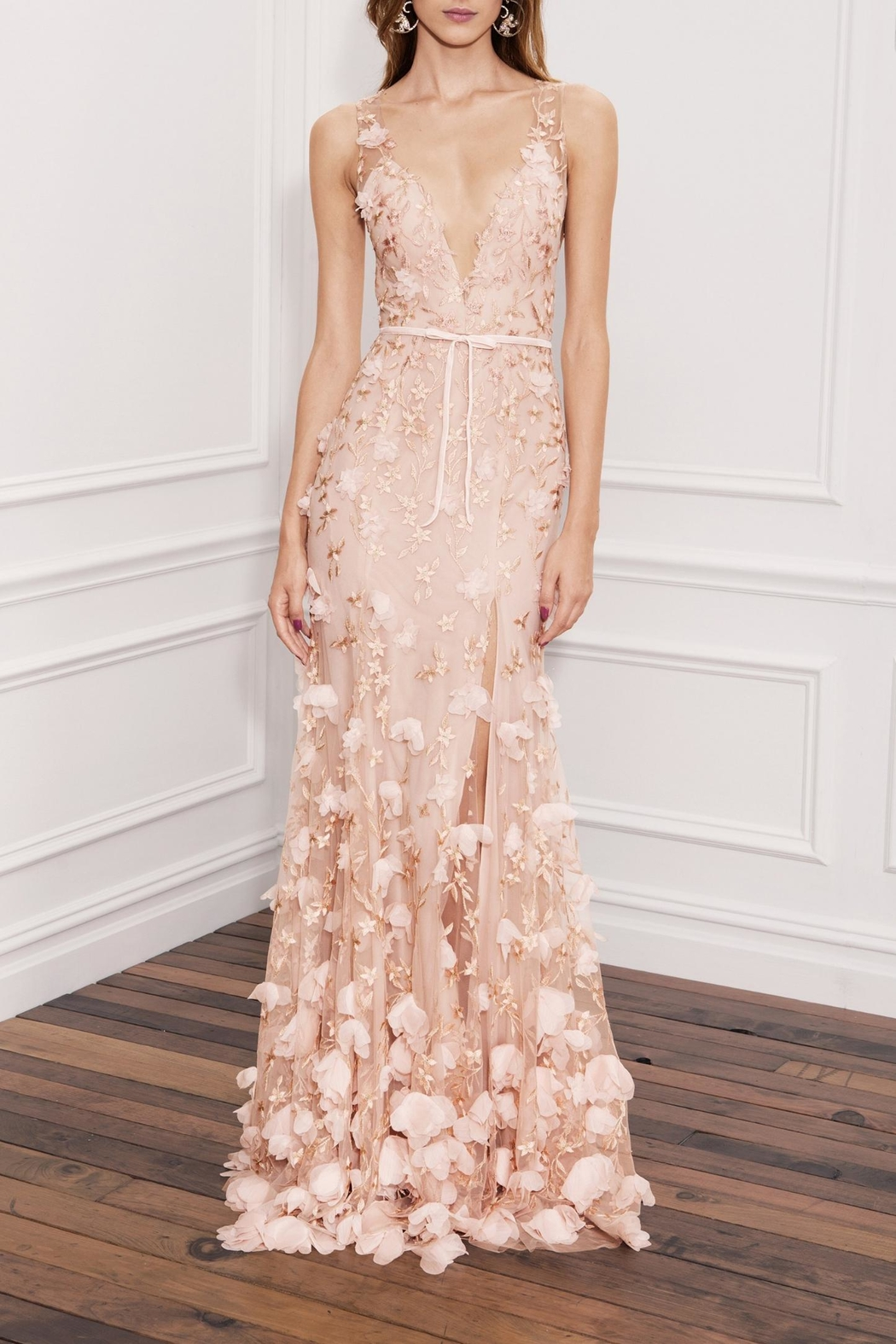 Marchesa Sleeveless Embroidered Gown - Main Image