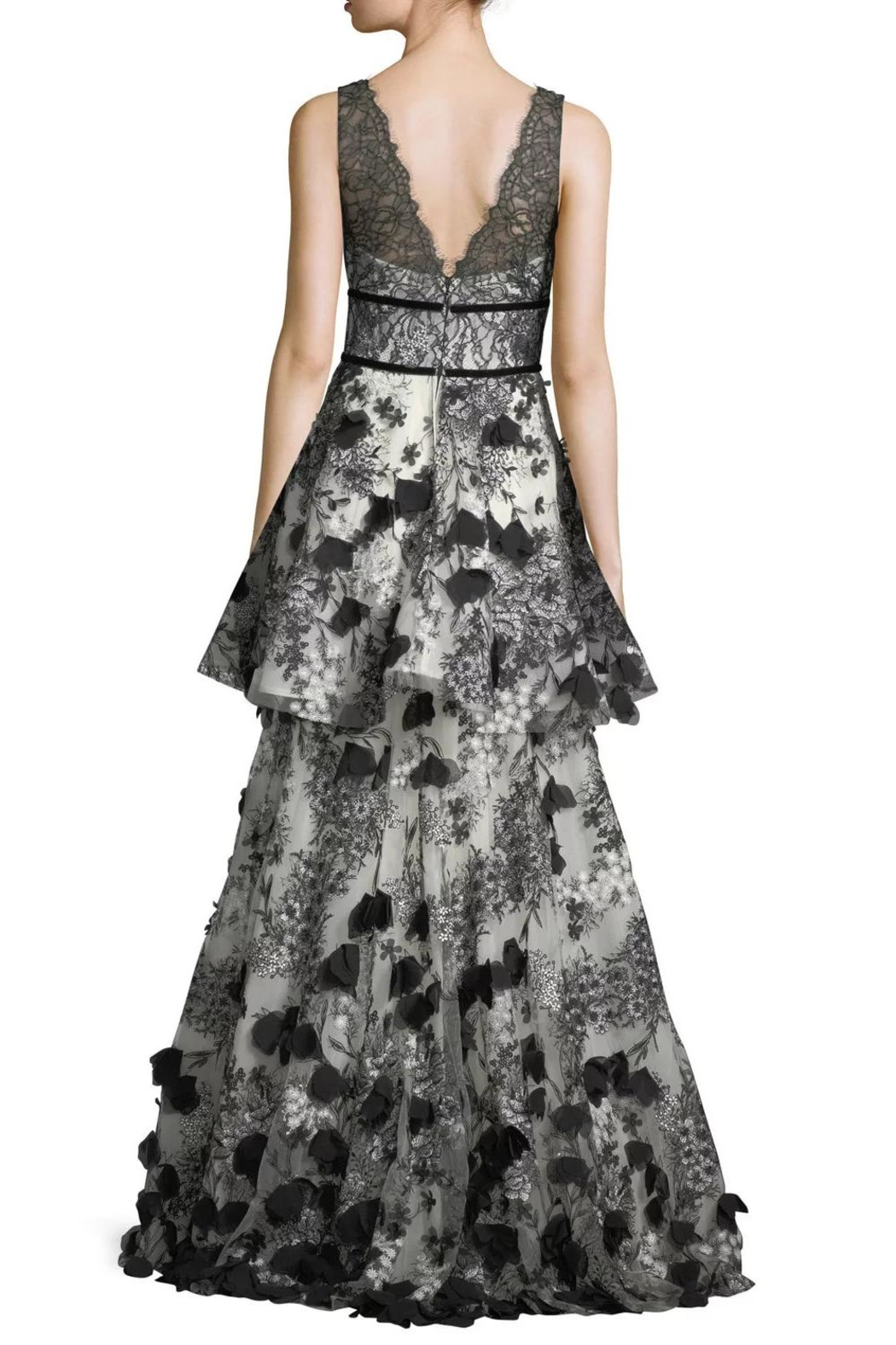Notte by Marchesa Tiered Embroidered Gown - Front Full Image