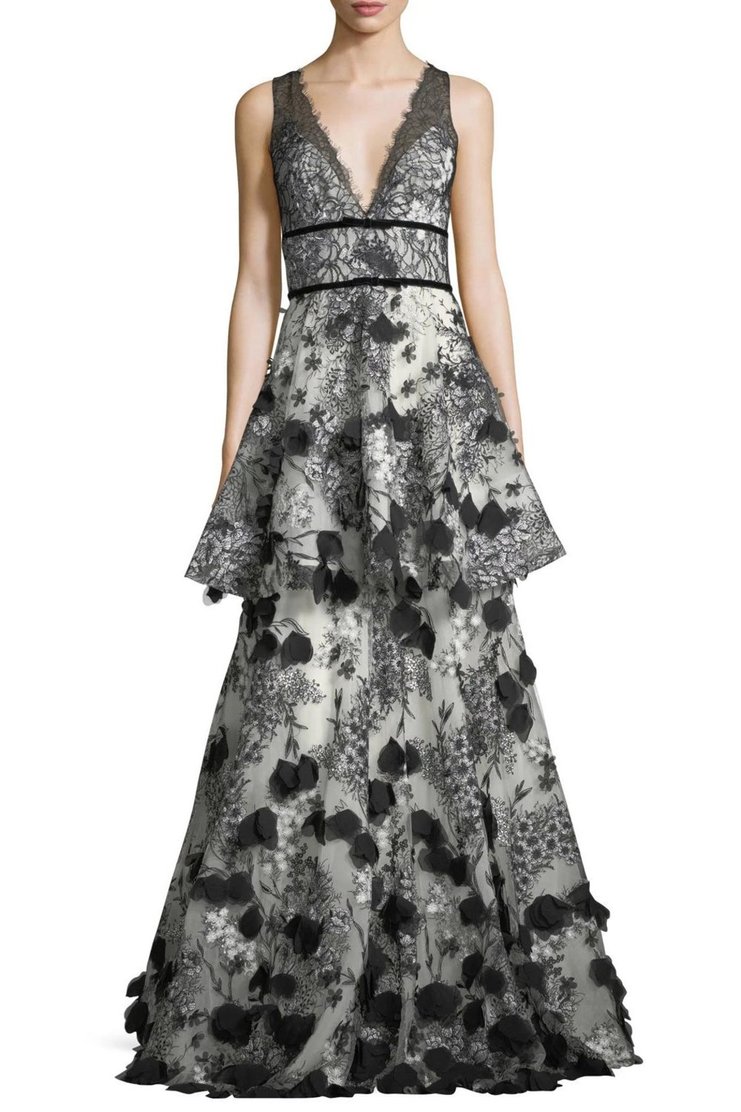 Notte by Marchesa Tiered Embroidered Gown - Main Image