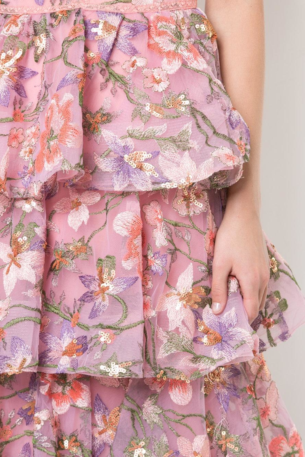 Notte by Marchesa Sleeveless Floral Gown - Back Cropped Image