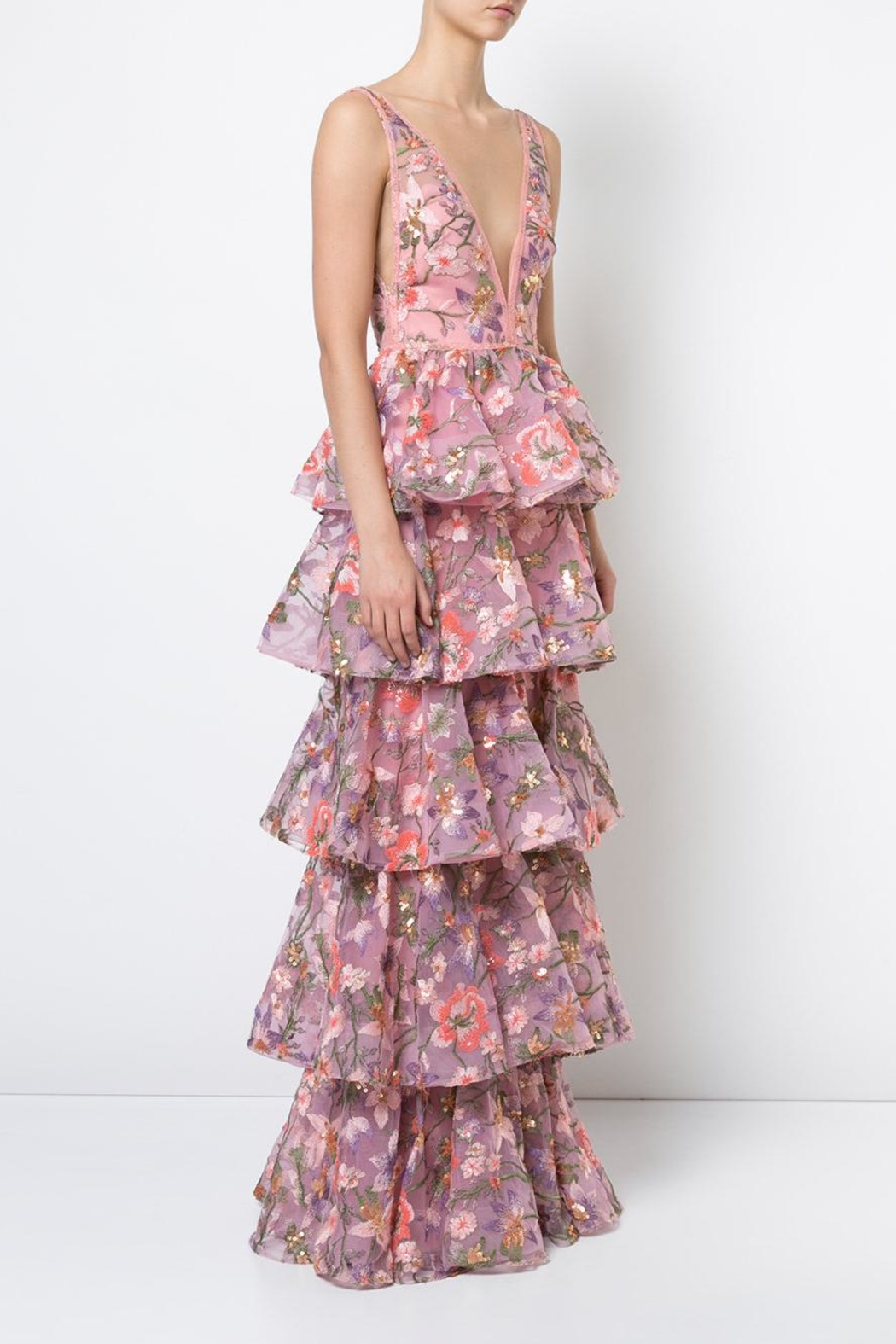 Notte by Marchesa Sleeveless Floral Gown - Front Full Image