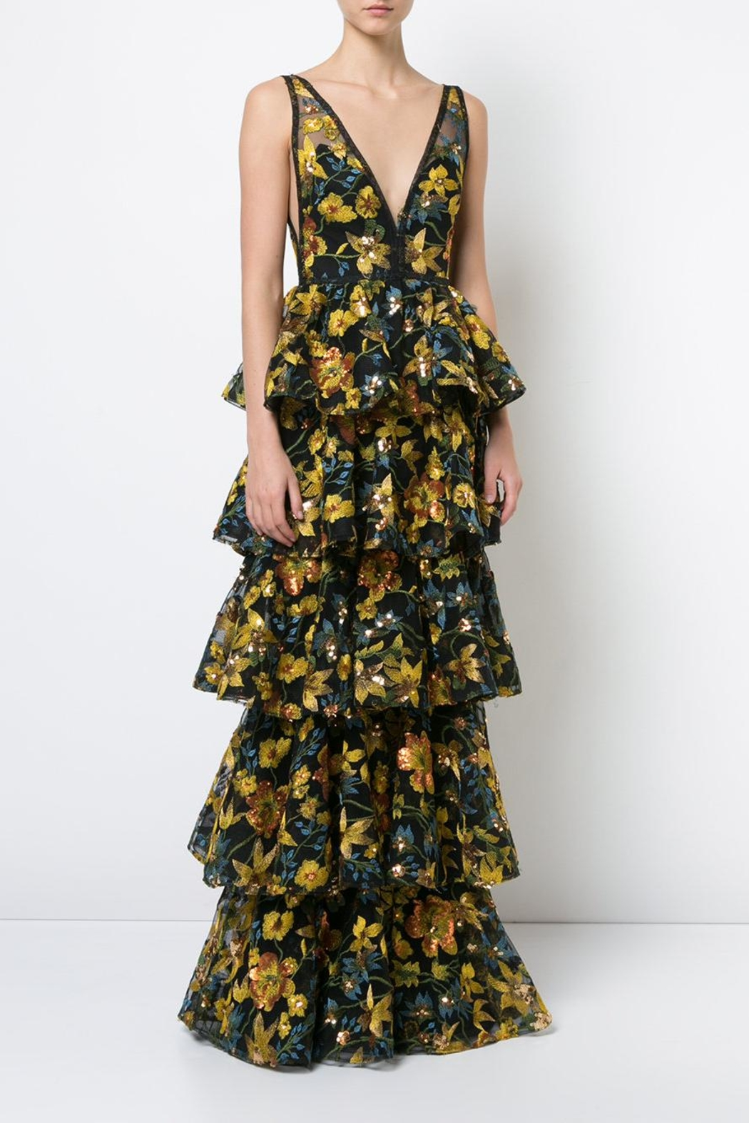Marchesa Sleeveless Floral Gown - Main Image