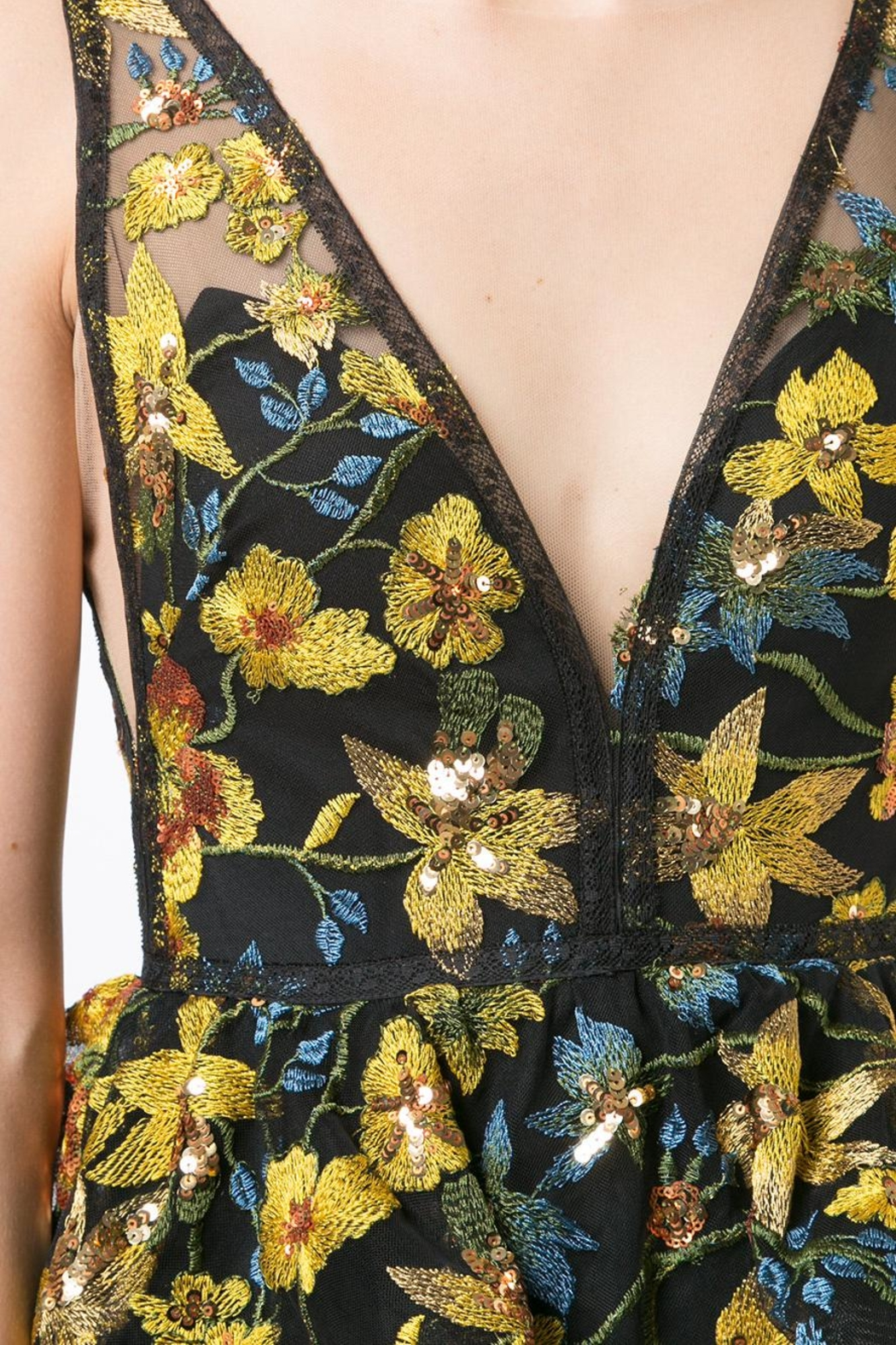 Marchesa Sleeveless Floral Gown - Side Cropped Image