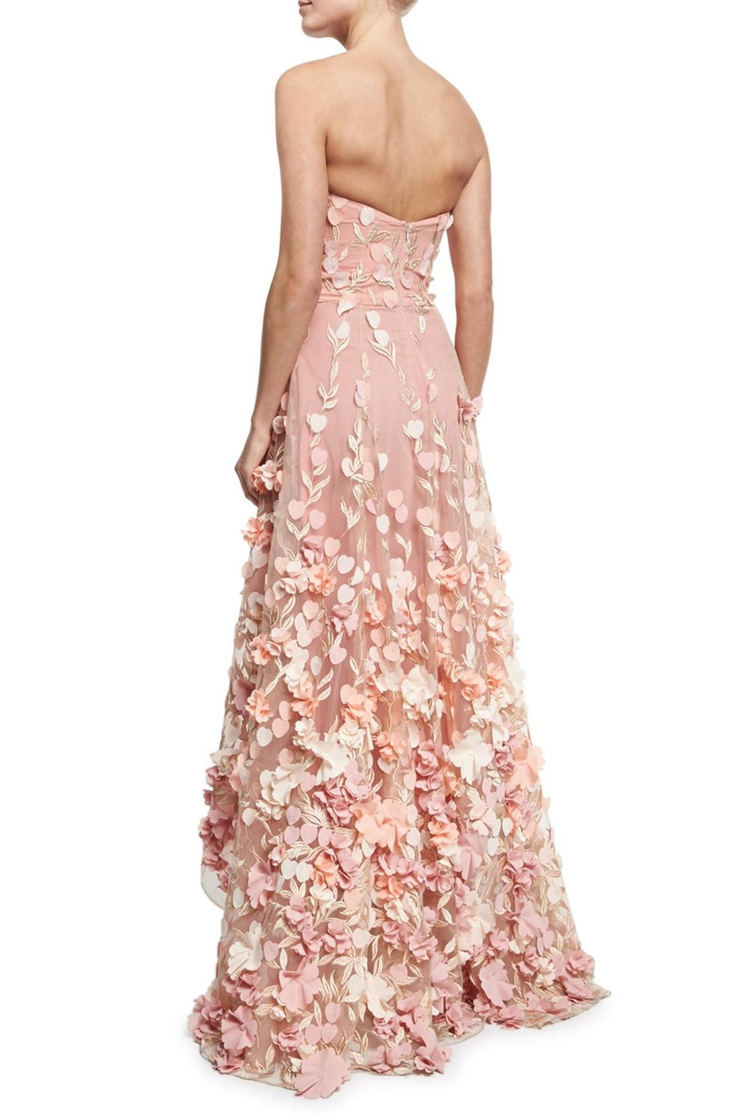 Notte by Marchesa Strapless Petal Gown - Front Full Image