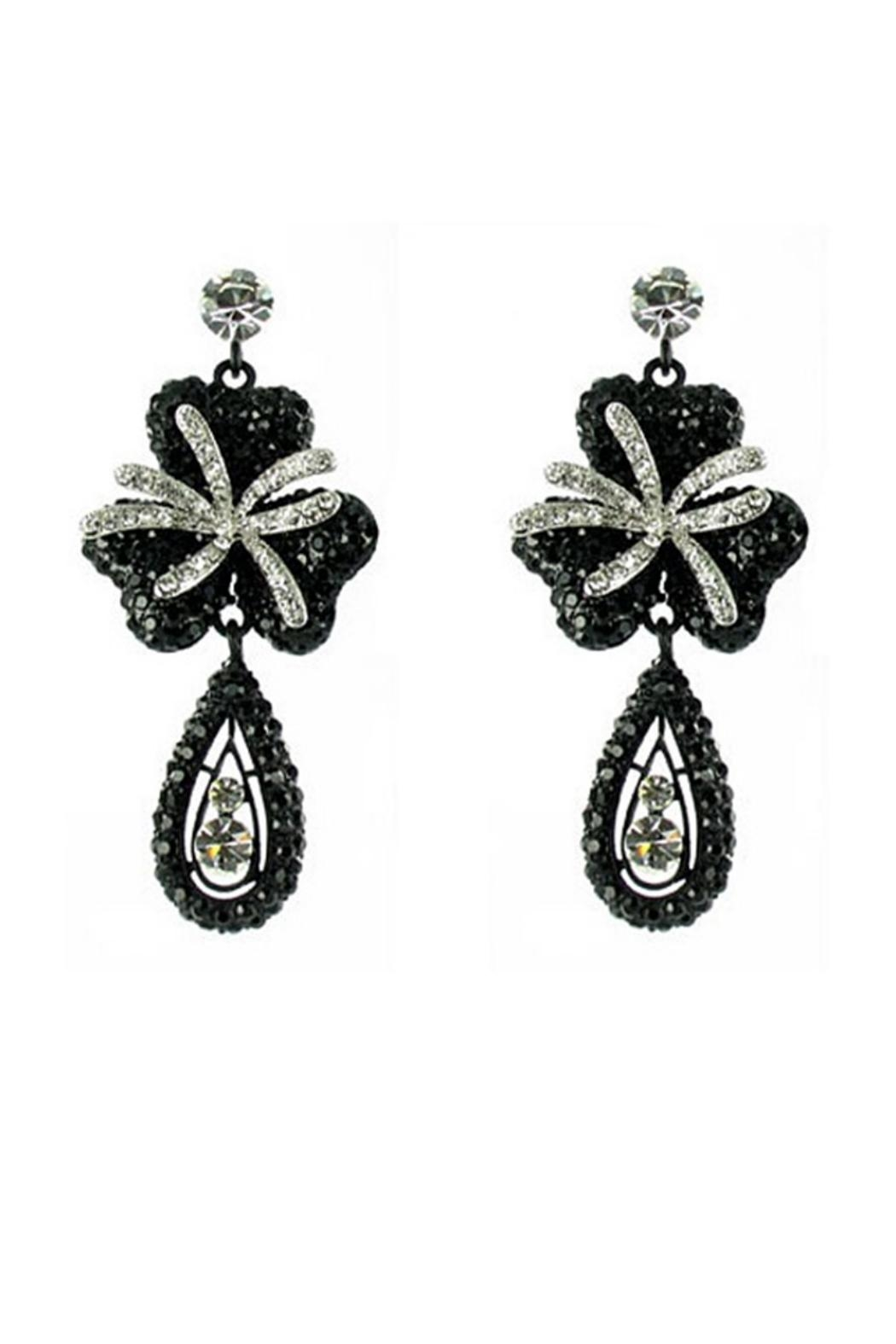 Nour London Black Clover Earrings - Front Cropped Image