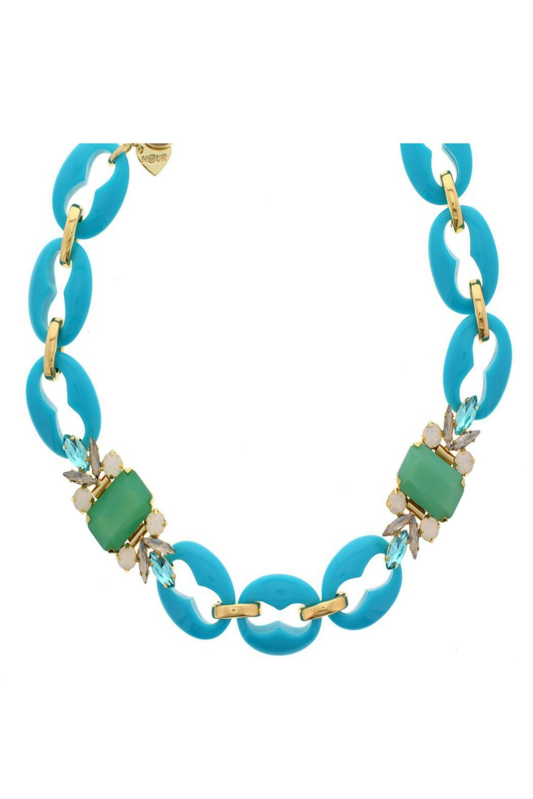 Nour London Turquoise Crystal Necklace - Front Cropped Image