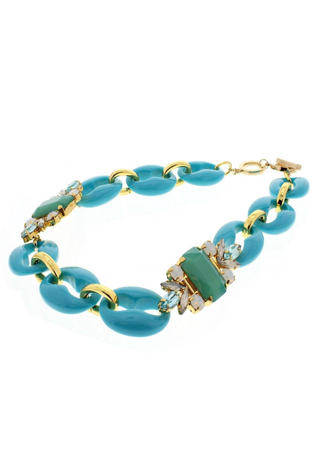 Nour London Turquoise Crystal Necklace - Side Cropped Image
