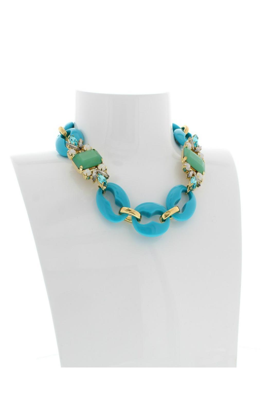 Nour London Turquoise Crystal Necklace - Back Cropped Image