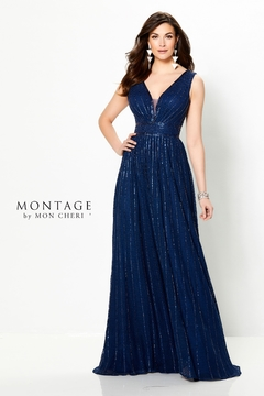 Montage Novelty Lace A-Line Gown, Navy - Product List Image