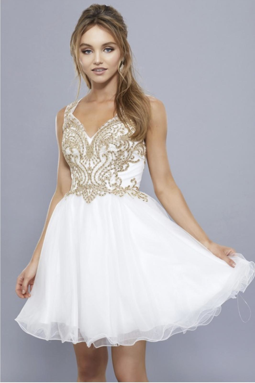 NOX A N A B E L Embroidered Short Prom-Dress - Front Full Image