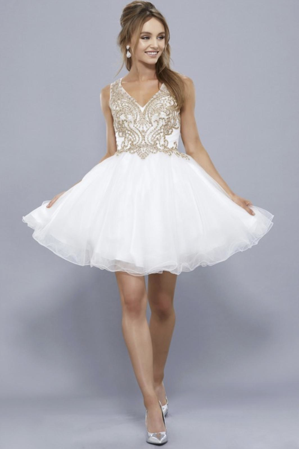 NOX A N A B E L Embroidered Short Prom-Dress - Main Image