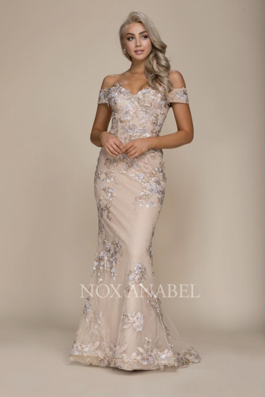 NOX A N A B E L Emroidered Off-Shoulder Formal-Dress - Front Cropped Image