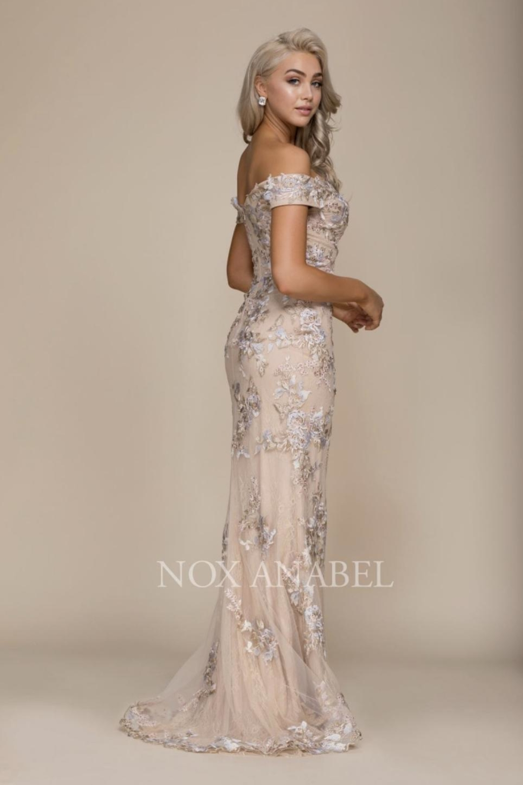NOX A N A B E L Emroidered Off-Shoulder Formal-Dress - Front Full Image