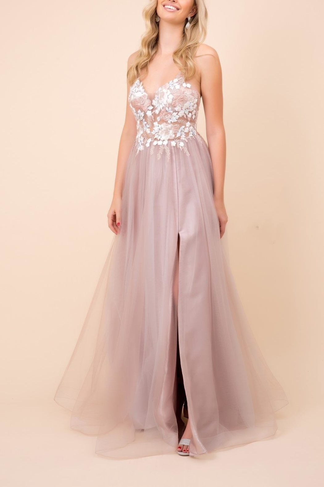 NOX A N A B E L Floral Tulle Maxi - Front Cropped Image