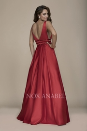 NOX A N A B E L Red Plunging-Back Formal-Dress - Front full body