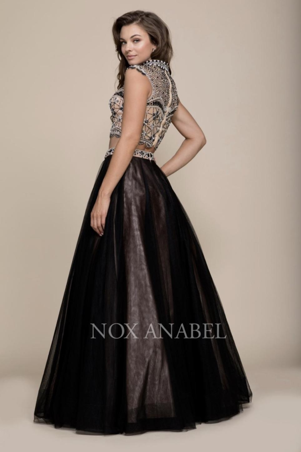 NOX A N A B E L Two-Piece Emroidered Formal-Dress - Front Full Image