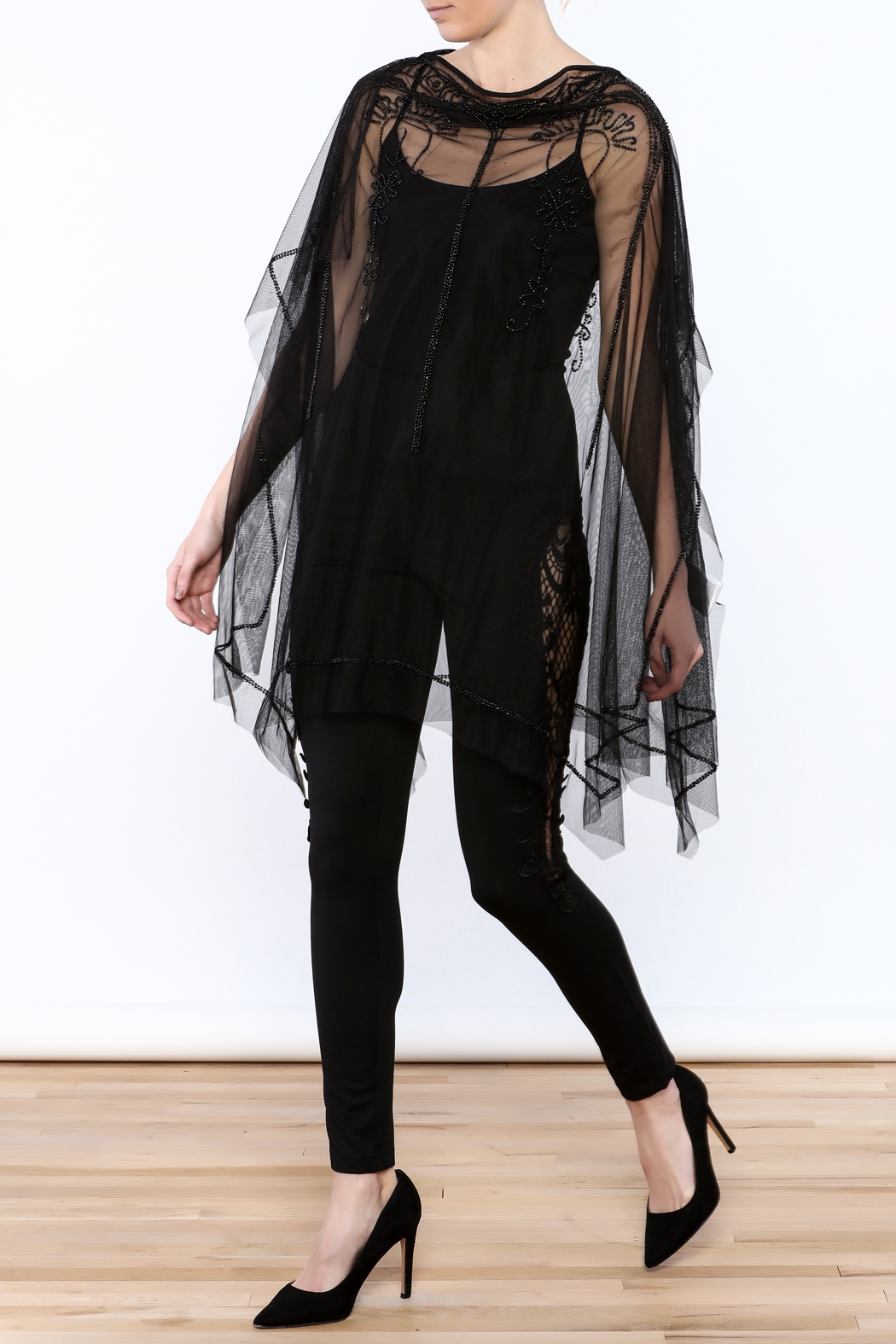 NU Denmark Black Beaded Poncho Top - Front Full Image